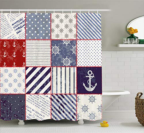 Ambesonne Nautical Shower Curtain, Maritime and Nautical Life Design with Vintage Sailor Knot Anchor Motifs, Cloth Fabric Bathroom Decor Set with Hooks, 70 Inches, Vermilion Blue Ivory