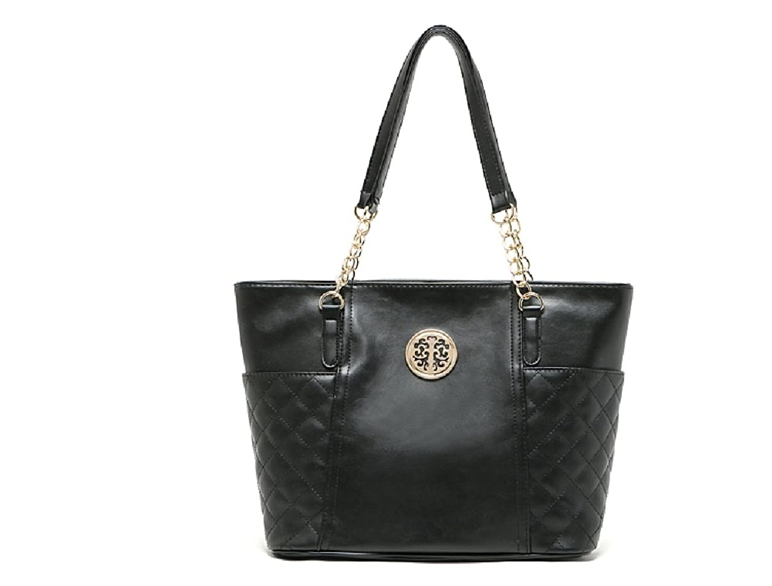 Caixia Women's PU Leather Diamond Plaid Quilted Detailed Satchel Shoulder Bag