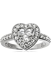 Sterling Silver Created White Sapphire Heart Shape Ring