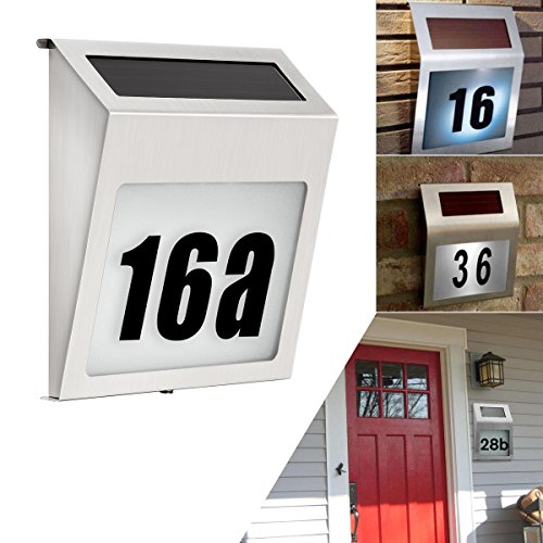 solar lighted address sign house number soonhua solar powered 3led dusk to dawn doorplate lamp. Black Bedroom Furniture Sets. Home Design Ideas
