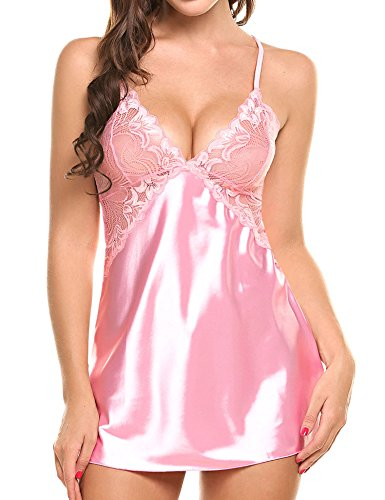 Liukos Women Lingerie V Neck Nightwear Stain Sleepwear Lace Chemise Sexy Babydoll Mini Teddy Pink - Sleepwear Teddy