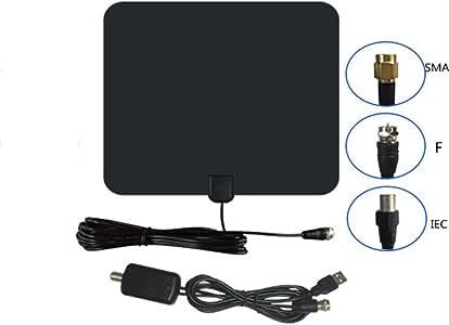 Antena de TV en la habitación/60 millas Antena HDTV digital TDT para 1080P VHF UHF 4K canales de televisión gratuitos: Amazon.es: Electrónica