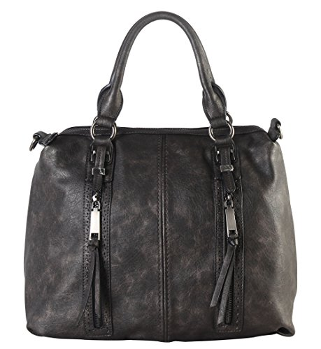 diophy-double-front-pockets-doctor-style-tote-handbag-cz-3726-pewter