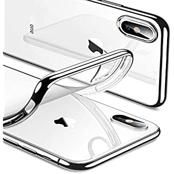 fbe073d2f ESR Essential Twinkle Case for iPhone Xs/X, Slim Soft TPU Cover [Supports  Wireless Charging] for The iPhone 5.8'' (Both 2018 & 2017), Silver Frame