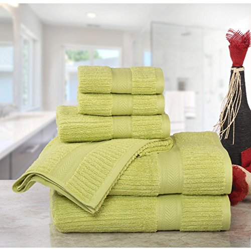 (6 Piece Celery Green Dobby Textured Towel Set With 27 X 54 Inches Bath Towels, Light Green Ribbed Weave Solid Color Plush Zero Twist Quick Dry 500 Gsm Long Staple Smooth Absorbent Luxurious, Cotton)