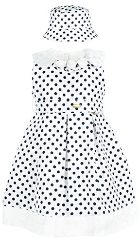 - Lilax Little Girls' Polka Dot Sundress with Hat 5 Navy