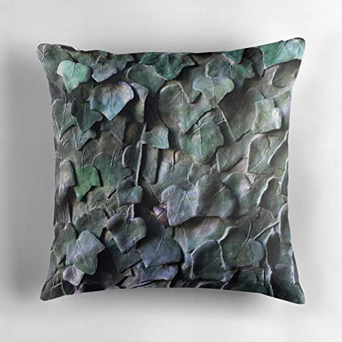 Wbsdfken Ivy Leaves in Bronze Luxury Throw Pillow Cover with Hidden Zipper for Bedroom, Living Room, Sofa, Couch & Bed 18x18 inch