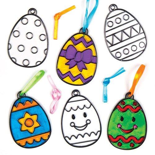 Baker Ross Easter Egg Acrylic Suncatcher Hanging Window Decoration Kit for Children to Paint - Creative Craft Set for Kids (Pack of 8)