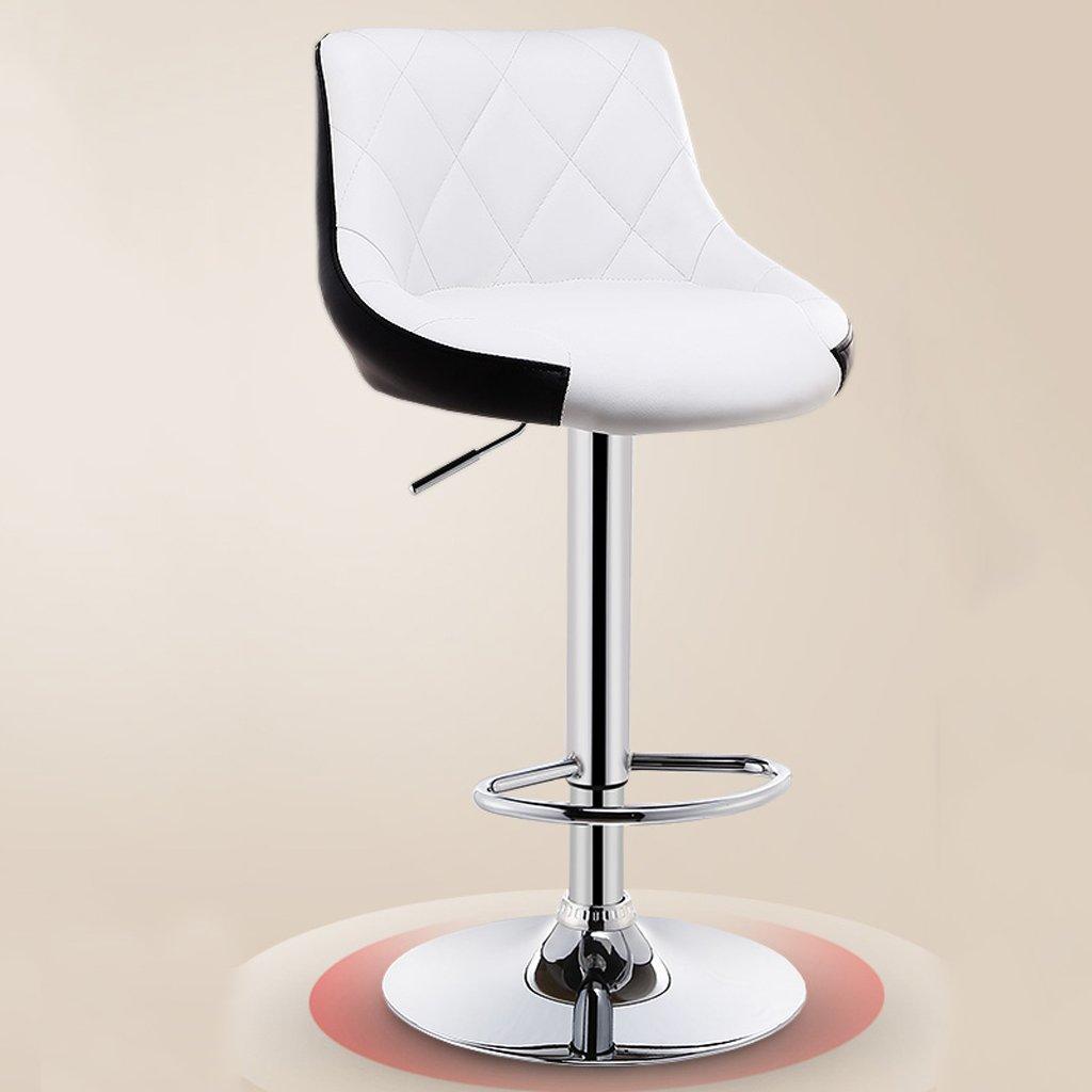 背もたれ、PUレザーの外装、調節可能な旋回ガスリフト、クロムフットレスト、朝食用バー、カウンター、キッチン、ホーム用のバースツールセット (Color : White) B07DCVF2NH White White