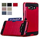 Galaxy Grand Prime Case, Wallet AnoKe [Credit Card Slots Holder] Hard Silicone Rubber Hybrid Armor Shockproof Protective Holster Cover Case For Samsung G531 G530H G5308 - KLS Red