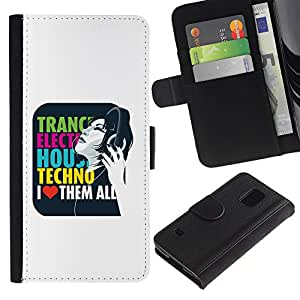 Paccase / Billetera de Cuero Caso del tirón Titular de la tarjeta Carcasa Funda para - Trance Electro House Techno Love - Samsung Galaxy S5 V SM-G900