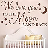 Ditooms We Love You To The Moon And Back With Stars Wall Art Sticker Quote Decal Wall Words Decal For Nursery Decor