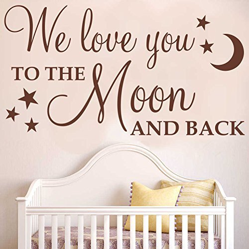 Ditooms We Love You To The Moon And Back With Stars Wall Art Sticker Quote Decal Wall Words Decal For Nursery Decor by Ditooms (Image #1)