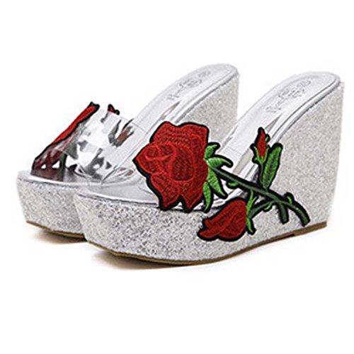 SHEO sandalias de tacón alto Señoras europeas y americanas sueltan zapatos transparentes transparentes zapatillas La Plata
