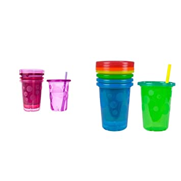 10Oz 4 Pack The First Years Take /& Toss Spill-Proof Straw Cups
