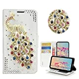 STENES iPhone 6S Case - STYLISH - 3D Handmade Bling Crystal Peacock Design Wallet Credit Card Slots Fold Stand Leather Cover Case for iPhone 6/iPhone 6S - Multicolor