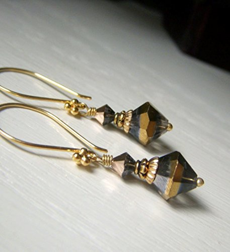 (Silver and Gold Two-Tone Crystal Earrings - Elegant Bicone Vermeil Dangle)