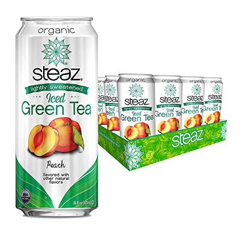 Steaz Organic Lightly Sweetened Iced Green Tea, Peach, 16 FL OZ (Pack of 12) (Tea Cans Green Peach)