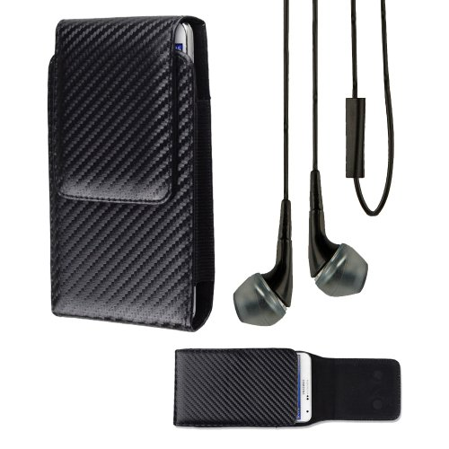 - Premium Verticle Faux Leather Carrying Case/Belt Clip Holster case For LG Optimus G Pro (Black)+ Vangoddy Headphone with MIC,Black