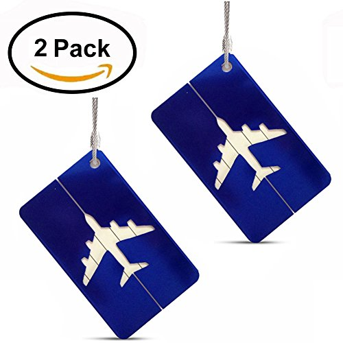 Set of 2 Luggage Tags Labels, Aluminum Metal Airplane Travel Suitcase Bag Baggage ID Name Address Tag Label with Screw Chain, (Airplane Address Label)