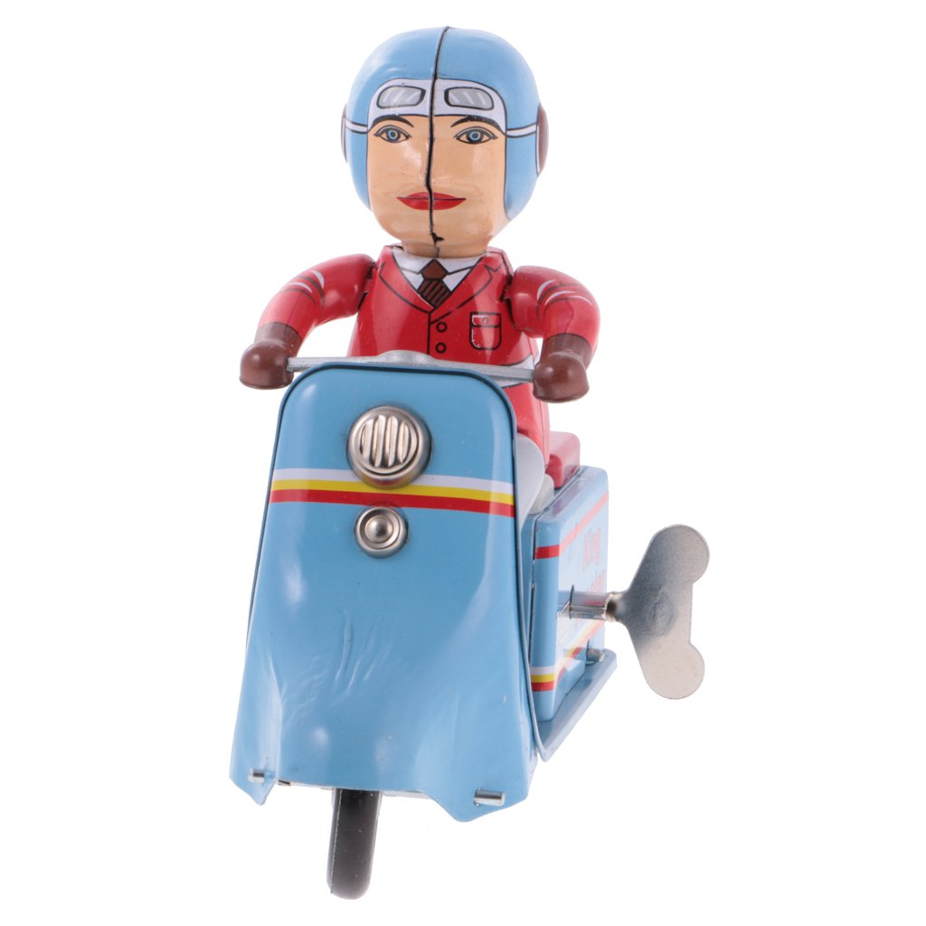 Jili Online Antique Wind Up Tin Scooter Rider Metal Crafts Clockwork Collectible Tin Toy by Jili Online