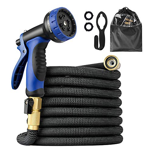 50ft Garden Hose, multifun Upgraded Expandable Water Hose with 10 Function Spray Nozzle, 3/4 Heavy-duty Brass Fitting Hose with 4 Layers Latex, Flexible Water Hose with 3750D Fabric Storage Bag & Hook