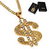 NYUK Gold Chain for Men Stainless Steel Necklace with Dollar Sign Pendant