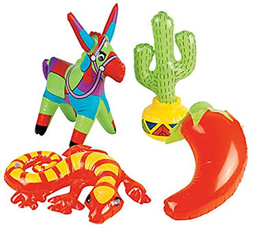 HAPPY DEALS ~ Set of 4 Inflatable Fiesta Party Decorations (Cactus, Chili Pepper, Donkey, Lizard) 15-18 inch ()