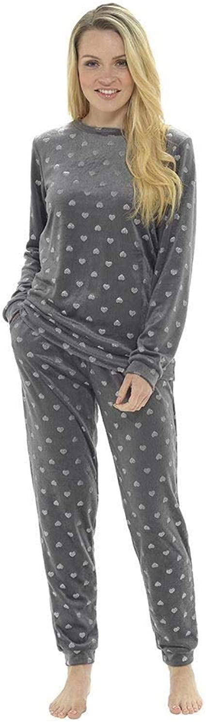 Style It Up - Pijama para mujer con forro polar suave y estampado animal