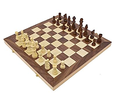 "Wholesale Chess 15"" Wooden Folding Chess Set with Storage"