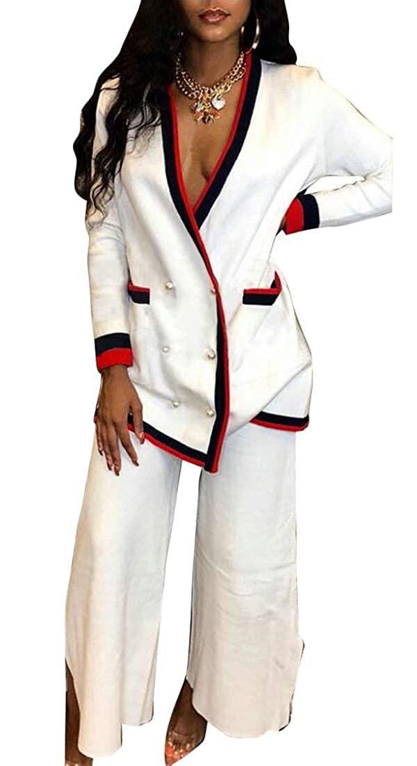 Unko Womens 2 Piece Outfits Long Sleeve Blazer Jacket with Long Pants Suit Set