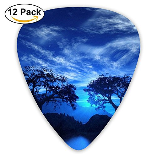 12-pack Fashion Classic Electric Guitar Picks Plectrums Moon Lakes Island Landscape Instrument Standard Bass Guitarist -