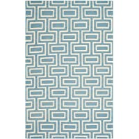 Safavieh Dhurries Collection DHU562A Hand Woven Light Blue and Ivory Premium Wool Area Rug (5 x 8)