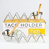 Taco Shell Stand Up Holders - 2 Pack Premium Stainless Steel Oven & Dishwasher Safe Taco Holder, Holds 3 Tacos Each Keeping Shells Neat & Upright, Also Comes With 2 Salsa Cups & 2 Wooden Spoons