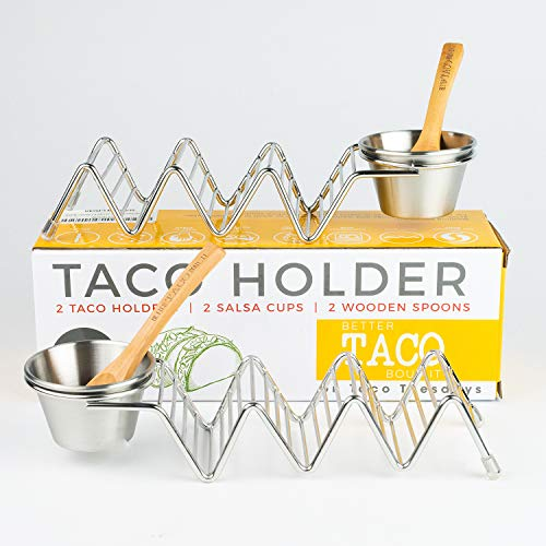 (Taco Shell Stand Up Holders - 2 Pack Premium Stainless Steel Oven & Dishwasher Safe Taco Holder, Holds 3 Tacos Each Keeping Shells Neat & Upright, Also Comes With 2 Salsa Cups & 2 Wooden Spoons)