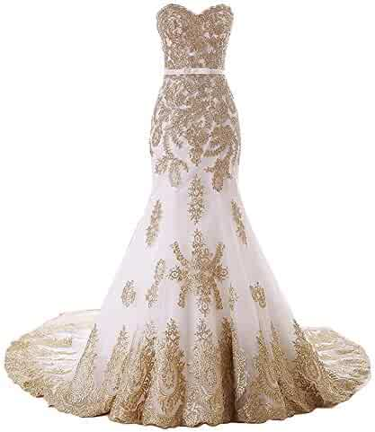 b31568c948c Aiyi Womens Gold Lace Mermaid Strapless Prom Wedding Dress Evening Gown