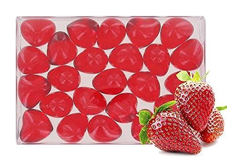 Caja de 24 perlas de aceite de baño fantasías - Corazón perfume fresa: Amazon.es: Belleza