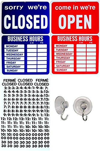 1 Set Cool Popular Open Closed Sign Hanging Notice Plastic Vinyl Letters Window Adhesive Size 9