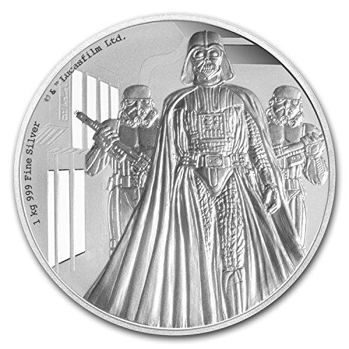(2016 NU Niue 1 kilo Silver $100 Star Wars Darth Vader (w/Box & COA) $100 Brilliant Uncirculated)
