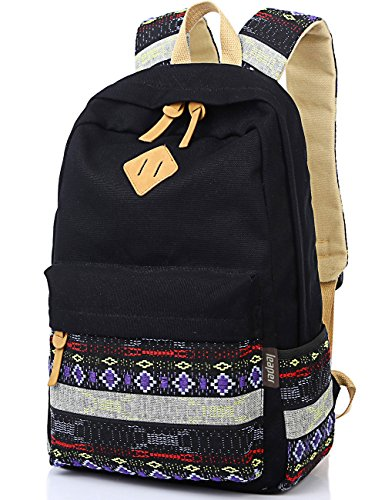 Leaper Causal Style Lightweight Canvas Cute Backpacks School Backpack (Medium, Black1+Flower)