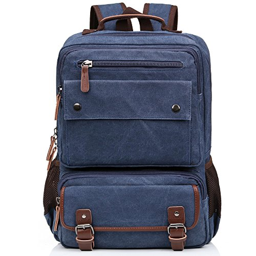 Jamsmor Canvas Vintage Backpack Casual Bookbag Unisex Rucksack Travel bag (Blue) by Jamsmor