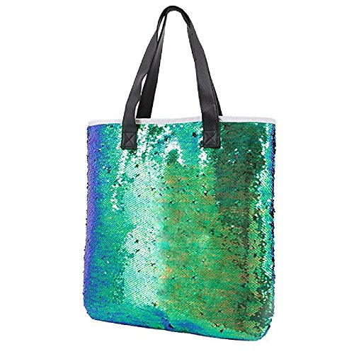 - Orfila Fashion Two Tone Reversible Sequin Tote Bag PU Leather Handbag Glitter Paillette Shoulder Bag for Women, Green