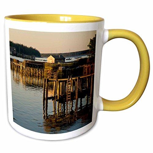 3dRose Danita Delimont - Harbors - Harbor at Bernard, Maine, Acadia National Park - US20 RSP0012 - Rob Sheppard - 11oz Two-Tone Yellow Mug - Harbor National At Outlets