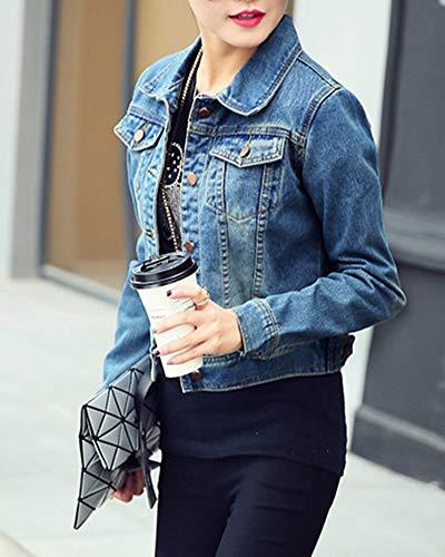 Jeans Cappotto Di Giacche A Donna Lunghe Chiaro Giacca Azzurro Maniche Pulsante Corto Zongsena qw0WStUU