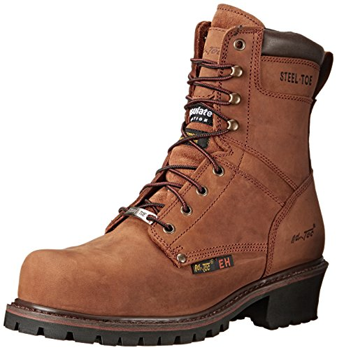 "ADTEC Men's 9"" Super Logger with Steel-Toe, Waterproof Goodyear Welt, Leather, Utility Boot 200g, Brown, 10.5 W US ()"