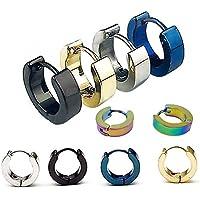 Yueton 5 Pairs Men Unisex Stainless Steel Small Hoop Earrings Ear Stud