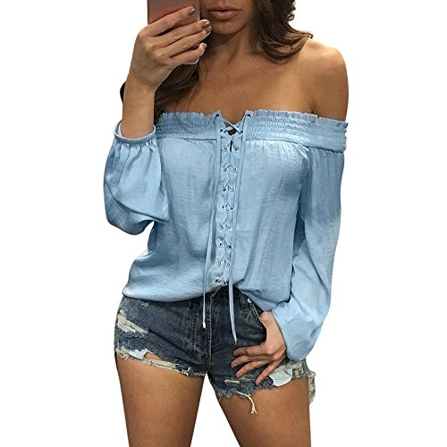 TnaIolral 2019 Women Blouse Summer Loose Casual Off Shoulder T-Shirt Blue