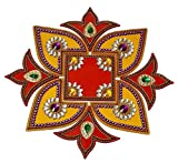 Krisah Matka Kalash Rangoli 9 pcs Set 15 inches Dia Acrylic Rangoli Multicolor Handicraft Jewel Stone Decorations (Matka Kalash)