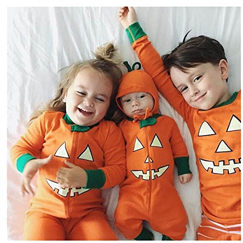 Shybuy Newborn Baby Halloween Baby Pumpkin Romper Jumpsuit, Kids Boys Girl Halloween Clothes Long Sleeve Romper Jumpsuit Outfit Two Piece Set (80 (9-12Month), 41 Orange)