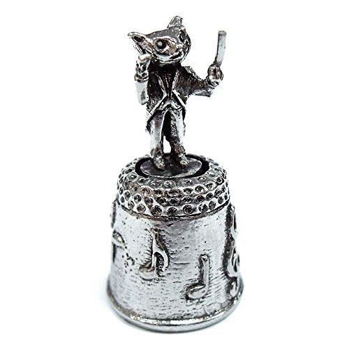 A.E.Williams シンブル 指ぬき ネコのオーケストラ コンダクター ピューター 錫 英国製 裁縫 かわいい